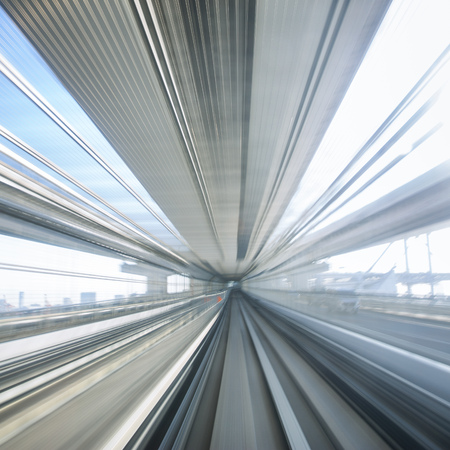 motion blur: Motion blur of Japanese mono rail Stock Photo