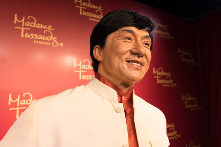 chan: BANGKOK, THAILAND - CIRCA August, 2015: Wax figure of the famous Jackie Chan from Madame Tussauds, Siam Discovery, Bangkok