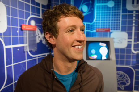 mark zuckerberg: BANGKOK, THAILAND - CIRCA August, 2015: Wax figure of the famous Mark Zuckerberg from Madame Tussauds, Siam Discovery, Bangkok