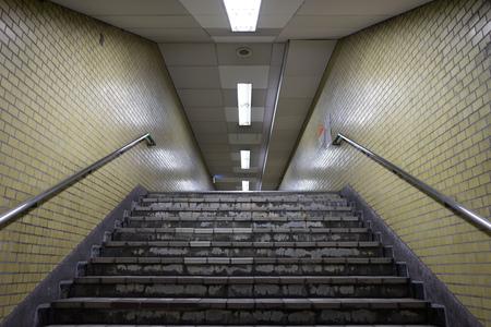 under ground: View from subway under ground stairs passage way