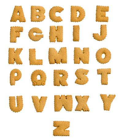 galleta de jengibre: Alfabeto de la galleta de jengibre aislada en el fondo blanco