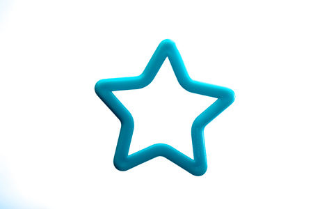 cookie cutter: Close up on a blue cookie cutter isolated