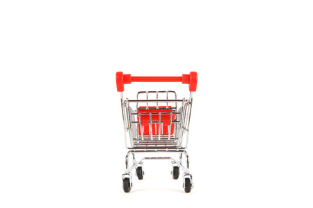 chrome cart: Shopping cart on white background with shadow