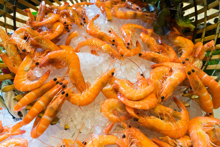 red cooked: cooked red colored boiled shrimp on cie Stock Photo