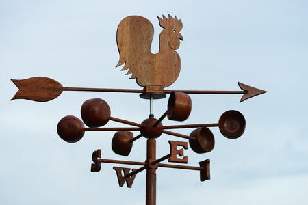weathercock: Chicken wind vane with compass and sky