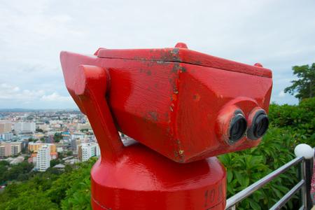 Coin operated vintage binocular overlooking Pattaya City
