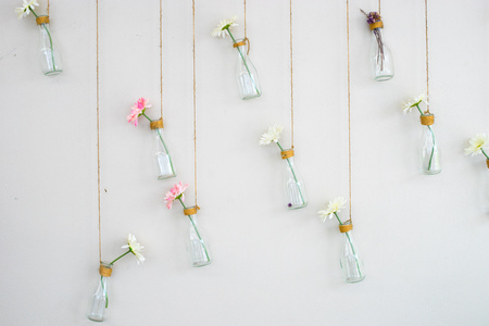 Flower in bottle on white wall backdrop 版權商用圖片