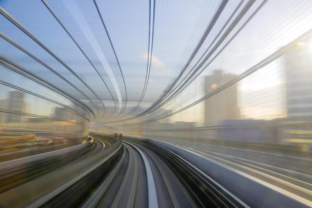 Motion blue of a Japanese mono rail