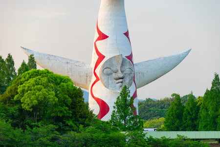 OSAKA, JAPAN CIRCA APRIL 2016: Tower of the sun, built in 1970 for World Expo 1970.