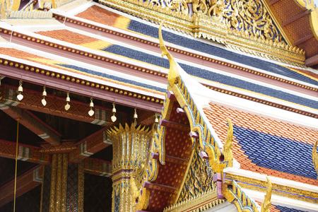 kaew: close up on the details of the emerald temple, Thailand Stock Photo