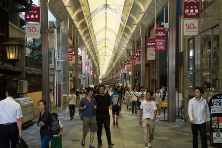 KYOTO, JAPAN - CIRCA AUGUST, 2016: Teramachi is an indoor shopping street located in the center of Kyoto city. Stock Photo