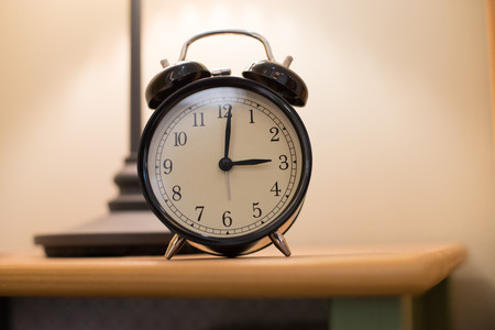 Close up on clock standing on a table