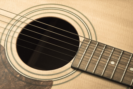 Guitar hole and strings - vintage filter Stock Photo