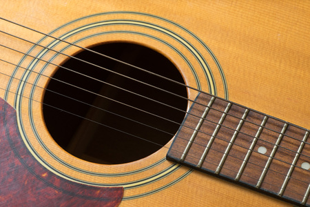Guitar hole and strings, close up on