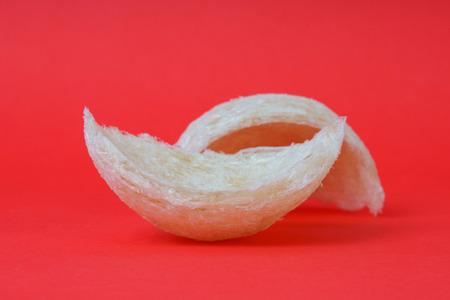 Fresh edible birds nest on red paper Stock Photo