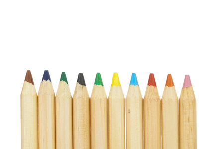 Colorful pencils isolated on white back ground Stock Photo