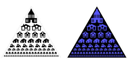 housing lot: silhouettes of different houses