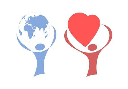 globe logo: people holding a globe, heart