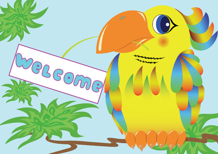 welcom: colorful parrot holds in its beak a sign with an invitation Illustration