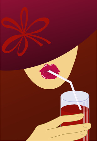 straw hat: A woman in a dark red hat drinks through a straw red drink Illustration