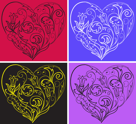 A set of multi-colored filigree hearts on colorful backgrounds Vector