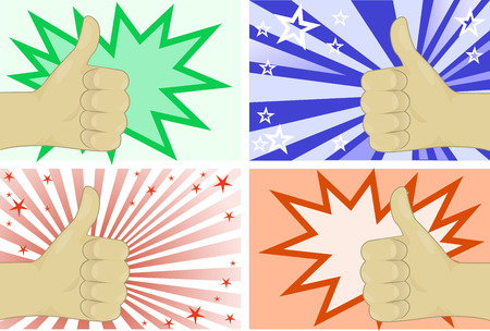 The hand gesture representing fine on four different backgrounds Vector