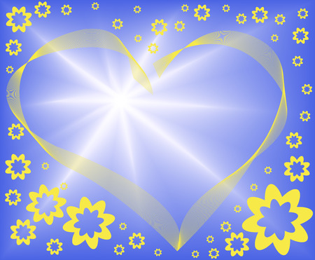 abstract blue background with a yellow heart and lots of flowers Stock Vector - 7252558