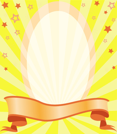 vignette in the stars and with a ribbon on a background of diverging rays of yellow Stock Vector - 7387432