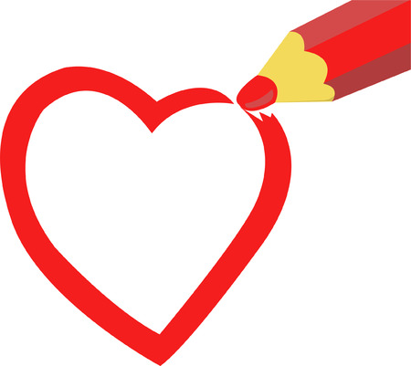 Heart drawn in red pencil Vector