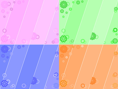 Set of abstract floral background in four colors Vector