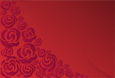 Roses arranged in a corner of a red background with thin lines Vector