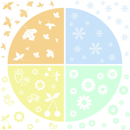 Stylized Planet divided into four sectors of the seasons Vector