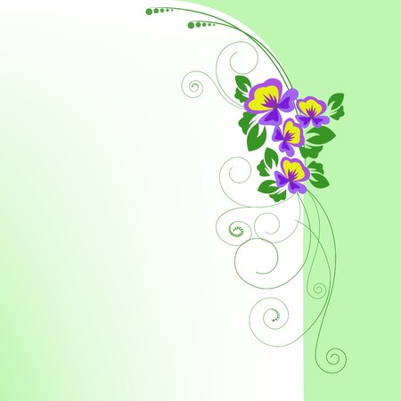 purple floral on a background of green arch Vector