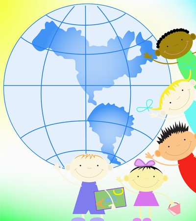 children and the planet Stock Vector - 7630045