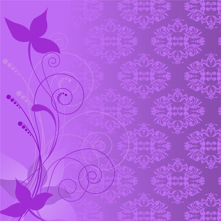 lilac plant composition on the background of a purple ornament Vector