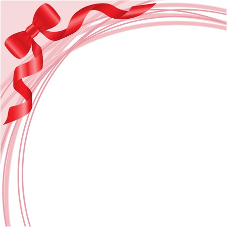 red bow on white background with pink arcs Stock Vector - 7681496