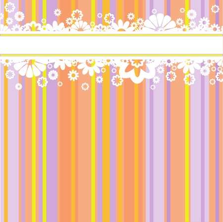 Horizontal stripe with white flowers at the multi-colored striped background Stock Vector - 7681495