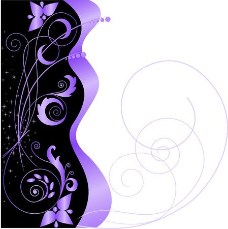 black satin: Stars and lilac floral pattern on a black and white