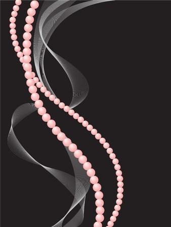 perlas: perlas rosas con una neblina sobre un fondo negro