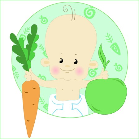 Baby in nappy stretches the apple and carrot Vector