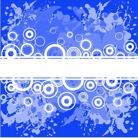 Abstract spattered blue background with white rings Stock Vector - 7734394