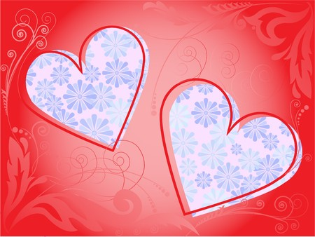 red frame of two hearts decorated with floral pattern Vector