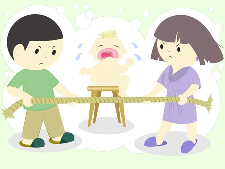 argument: wife quarrel over tight rope and crying child Illustration