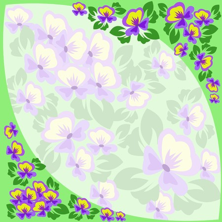 pansy: Green border of violets with a pale insert Illustration