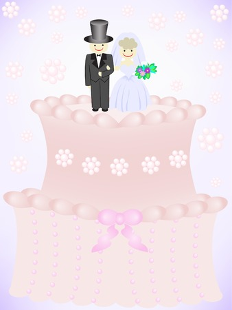 wedding cake with figurines of the bride and groom Stock Vector - 7823074