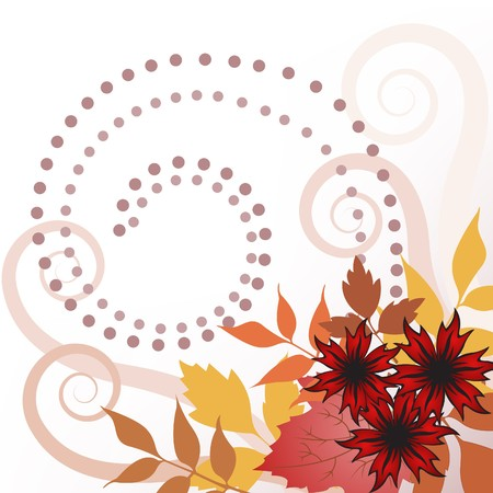autumn leaves and flowers on  white background Vector