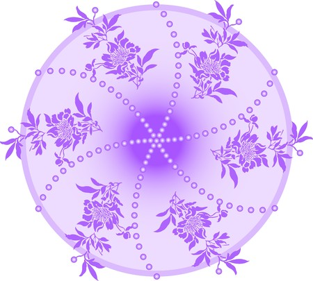 lilac round emblem with floral sprigs inside Stock Vector - 7823080