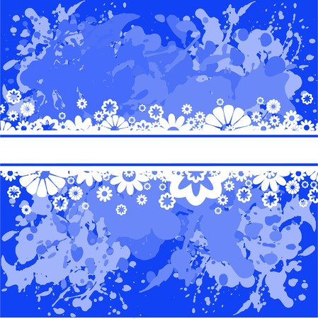 Abstract spattered blue background with white flowers Vector