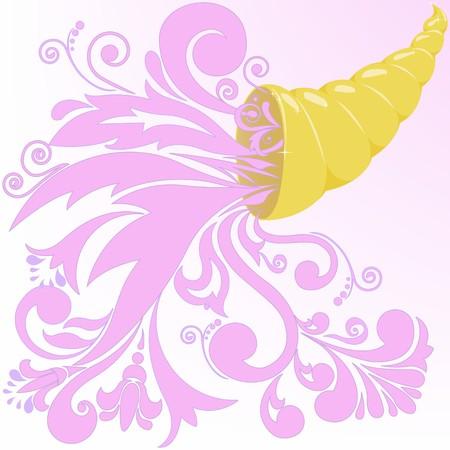 plenty: golden horn of plenty with a pink floral patterns Illustration