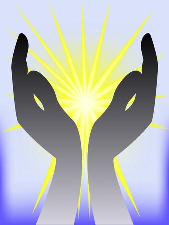 h�nde in der luft: schwarz Silhouette der beiden H�nde auf gl�nzendem Hintergrund gelb-blau Illustration